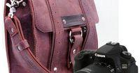Safari Camera Bag - Burgundy - Thick Full Grain Leather - Padded Camera Insert Divider - Padded Bottom
