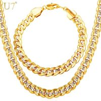 U7 Men Two Tone Gold Color Hip Hop Trendy 9MM Chain Necklace And Bracelet Set R27.98