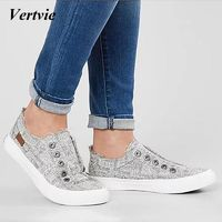 VERTVIE Canvas Shoes For Women Sneakers Casual Canvas Shoes Female Summer Lace-Up Flat Trainers Vulcanize Simple Shoes $25.00