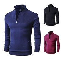 100% Cotton Pullover Sweater Men Casual Sweater Knitted Pullovers Zipper turtleneck Long Sleeve Knitwear 3XL $43.52