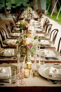 "Wedding table setting. Love the colors. Looks like long tables are ""in""."