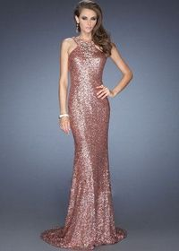 Copper Full Sequined Trailing Evening Gowns Patterns