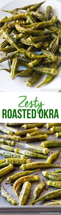 Zesty Roasted Okra Recipe - Fresh summer okra roasted on a sheet pan with cumin, ancho chili powder, and garlic. This simple healthy side dish is fantastic!