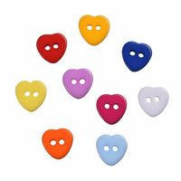 200 x Assorted Colours Plastic Resin Love Heart Buttons 11mm x 11mm. Valentine's Day Gift, Romance, Sewing, Dressmaking and Needle Craft. £5.09