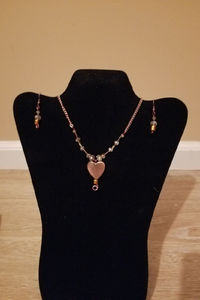 Copper Heart Necklace with Matching Earrings Set $10.00