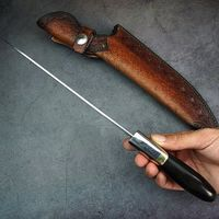 """Chef Knife 7.9"""" Laminated Damascus Steel Kitchen Knives Leather Scabbard Home Cooking Tools $193.00"""