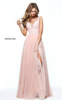 2017 50995 Tulle Lace Beaded Sexy Senior Prom Dress by Sherri Hill Blush