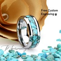 8mm Chunky Turquoise Inlay Tungsten Wedding Band Men & Women, Black Ceramic Wedding Band For Men For Women, Natural Turquoise Ring. $94.00