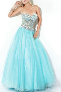Strapless Natural Floor-Length Ball Gown 2016 Quinceanera Dresses