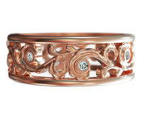 Rose Gold Flower Band with 8 Diamonds, 7mm Filigree Floral Ring, 8th Anniversary Gift $930.00