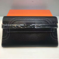 Hermes Kelly Wallet 20cm Swift Leather Palladium Hardware In Black