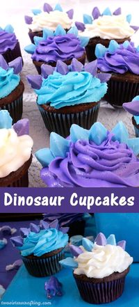 Our Stegosaurus inspired Dinosaur Cupcakes were a hit at our Dinosaur Birthday Party - easy to make, delicious to eat and pretty in any color combination.