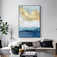 Gold art Modern Abstract acrylic paintings on canvas art original blue painting Large framed wall art wall pictures cuadros abstractos $123.75
