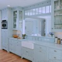 """I'm not crazy about the blue over-kill, but I love this 1950's farm kitchen. It's channeling kitchen karma from the movie """"The Help."""""""