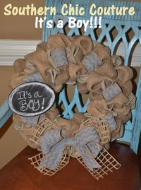 Burlap Baby Boy Wreath Hospital Door Hanger by SouthernChicCouture, $45.00