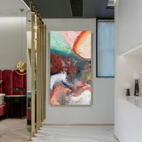 Abstract acrylic paintings on canvas Original art red Painting dinning room art Wall Pictures cuadros abstractos hand painted heavy texture $123.75