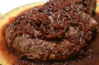 Grilled Steak with Red Wine Shallot Sauce