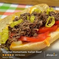 "Original Homemade Italian Beef | ""Wow! What a great recipe... Like some suggested I used two packets per every three pounds of meat and it came out perfect. So perfect not a bit was left."""