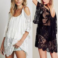 Fashion Women Beach Dress Strap Sheer Floral Lace Embroidered Crochet Summer Dresses Hippie Boho Dress Vestidos Beach Wear $28.00