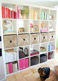 Organized and decorated. Most bookshelves that inspire me have so few books but this is a good example