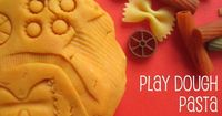 I love to put creative combinations of materials together and see what the kids come up with. This week we've paired up play dough and some pasta - and the Craf
