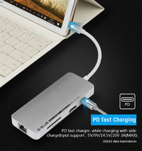 Universal 8 in 1 Type-c to USB 3.0 HDMI RJ45 PD Fast Charge TF Memory SD Card Reader Adapter HUB
