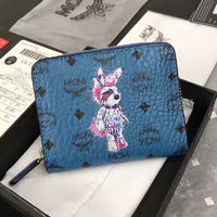 MCM Rabbit Visetos Short Wallet In Washed Blue