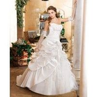 Ball Gown Strapless Lace Ruching Brush Train Satin Wedding Dresses