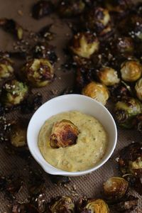#paleo PaleOMG Crispy Sesame Brussels Sprouts with Creamy Curry Dipping Sauce