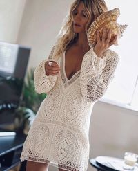 Women sexy long Lantern sleeve backless Deep v-neck white lace dress Ruffles Floral mini Tunic dress Hollow out pencil plus size Features: 1.It is made of high quality materials,durable enought for your daily wearing 2.Very cool to wear ,New Look,New Y...