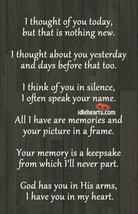 Suppose to be for a memory table at a wedding but I could see also making a memory wall in the home. This poem framed with pictures of family members/friends who have passed away.