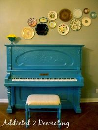 MY MOM SHOULD DO THIS...we have a seriously old piano that could use some funk! paint a piano....good idea for an OLD piano that looks bad........scroll half-way down on this link and she tells you how it was painted