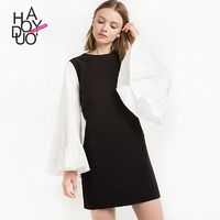 School Style Vogue Sweet Solid Color Flare Sleeves Scoop Neck Dress - Bonny YZOZO Boutique Store