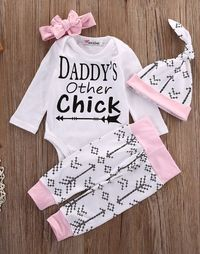 - Baby Girl - 4 Piece Outfit - Headband - Hat - Long Sleeve Bodysuit - Pants Free Shipping! Please Allow 2-4 weeks for delivery.
