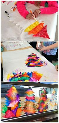 Make beautiful coffee filter christmas tree suncatchers using just coffee filters, markers, and a spray bottle of water! Perfect christmas craft for the classro