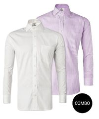 Lavender Stripes and White Twill Regular Fit Cotton Shirt Business Wear Combo Pack �'�2299.00