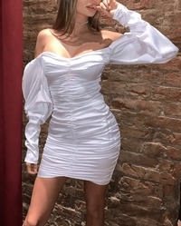 Off Shoulder Ruched Satin Bodycon Dress-White at www.fashionsqueen.com