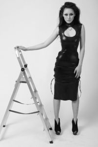 Industrial Latex! The Ring Dress - Effy By Design's black latex dress inspired by cheongsam with collar ring.