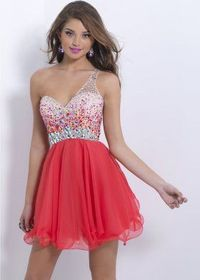 One Shoulder Red Short Jewels Beaded Homecoming Dress 2014