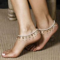 Anklets for Women Trendy Foot Jewelry Imitation Pearls Tassel Inlaid Crystal Ankle Chain R80.80
