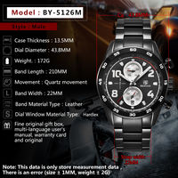 BENYAR 5126M Stainless Steel Luminous Hands Waterproof Chronograph Business Men Watch Quartz Watch