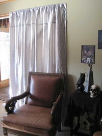 Cheap way to put up fake curtains for your Halloween party