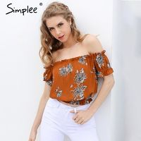 Simplee off shoulder print blouse shirt Elegant short sleeve flower soft blouse blusas women tops Summer casual streetwear $29.67
