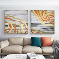 Gold leaf 2 pieces Modern abstract Acrylic painting on canvas original art gray painting large Wall Art wall pictures cuadros abstracto $140.00