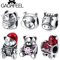 GAGAFEEL Super Cute Animal Cat Bear Charm Beads Fit Pandora Bracelets Necklace Solid 925 Sterling Silver Beads Jewelry Making $16.99