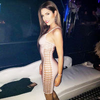 2017 New Sleeveless Sexy Side Cut Out Club Bandage Mini Party Dress