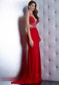 Long Red Beaded Jasz Couture 5452 Prom Dresses 2015 Cheap