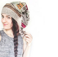 Patchwork hat, Upcyled elf hat, whimsical beanie, one-of-a kind $98.00