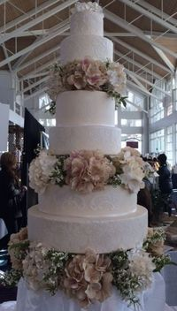 6 tier Fondant Round Wedding Cake, Stenciled and separated with sugar hydrangeas.