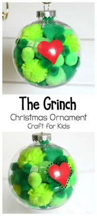 This has got to be both the cutest and easiest Christmas ornament craft for kids! It's a great extension activity to How the Grinch Stole Christmas by Dr. Seuss